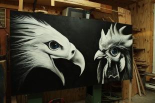 Eagle und Huhn